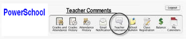 Teacher Comments Screen